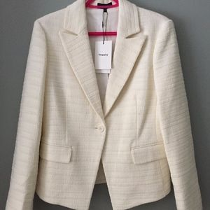 THEORY BRINCE OFF WHITE CAILEN TWEED JACKET,